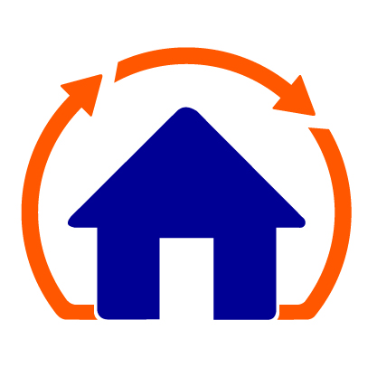 Recycling arrows around home icon